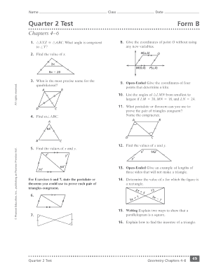 Geometry Cumulative Assessment Quarter 2 Test Chapters 4 6 - Fill ...