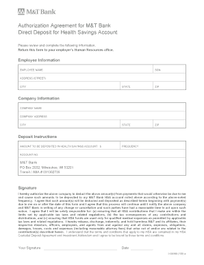 HSA Direct Deposit Sign-Up Form - M&T Bank