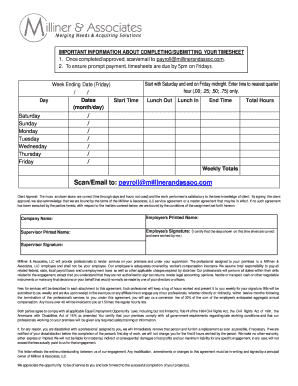 fillable online milliner associates llc timesheet payroll