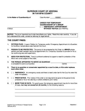 Temporary guardianship agreement forms and templates fillable order for temporary bguardianshipb of minor yavapai county courts bb platinumwayz