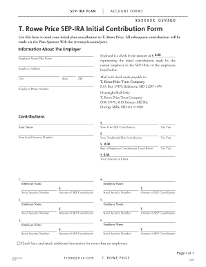Fillable Online T. Rowe Price SEP-IRA Initial Contribution Form ...