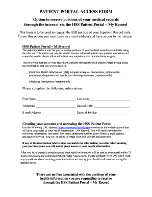 hss patient portal My Hss Portal - Fill Online, Printable, Fillable, Blank | PDFfiller
