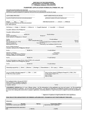 Fillable Online EPassport Application Form - Philippine Embassy ...