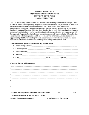 2015 Bed Tax Application Form - City of North Pole