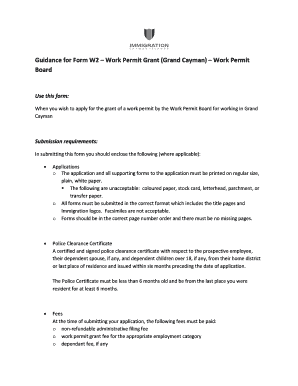 cayman work permit sample form