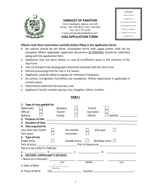 Pakistan Visa Application Form - Fill Online, Printable, Fillable ...