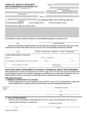 Fillable Online DC-418 Affidavit-Default Judgment Servicemembers ...