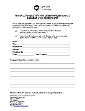 Regional Vehicle-For-Hire Comment Form - North Central Texas  - nctcog