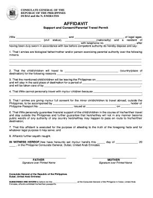 Affidavit of parental consent for travel of a minor child sample affidavit support and consentparental travel bpermitb philippine bb altavistaventures Choice Image