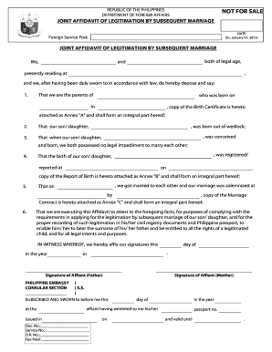 Joint Affidavit of Legitimation By Subsequent Marriage