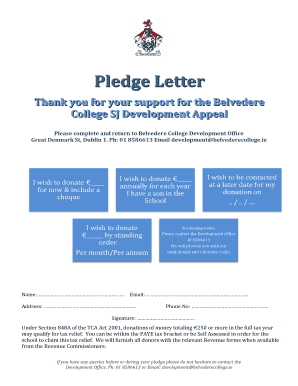 Pledge Letter Thank you for your support for the Belvedere College SJ Development Appeal - belvederecollege