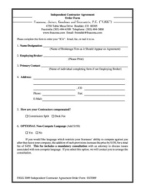 Independent Contractor Agreement Questionnaire & Order Form - PDF