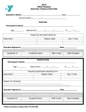 Fillable Online ymcaatlanta Addition/Cancellation Form - YMCA of ...