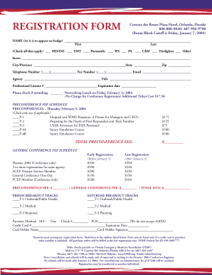 REGISTRATION FORM Contact the Rosen Plaza Hotel, Orlando, Florida 800-800-9840/ 407-996-9700 (Room Block Cutoff is Friday, January 7, 2004) NAME (As it is to appear on badge) First Last (Check all that apply) MD/DO EMT Paramedic RN PA CEM -