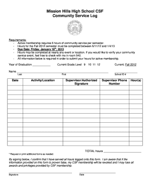 community service hours log sheet template Forms - Fillable ...