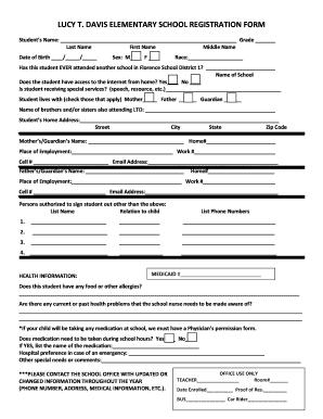 Fillable online fsd1 lucy t davis elementary school registration rate this form altavistaventures Gallery