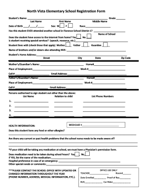 Fillable online fsd1 north vista elementary school registration form rate this form thecheapjerseys Gallery