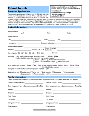 Talent Search Return Completed Form To The Talent Search Mailbox At Your  School, Or Mail