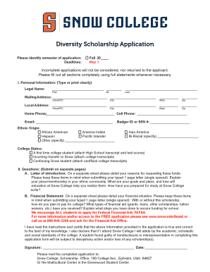 Diversity Scholarship Application - Snow College - snow
