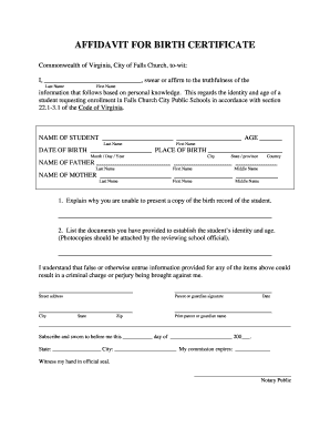 Affidavit for birth certificate falls church city public schools preview of sample yelopaper Images