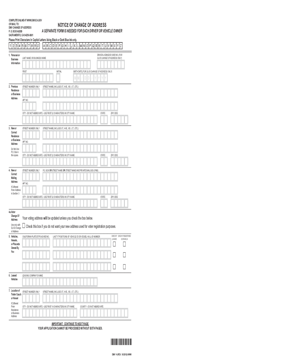 CA DMV 14 2018 - 2021 Form