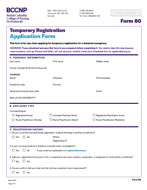 Temporary emergency registration