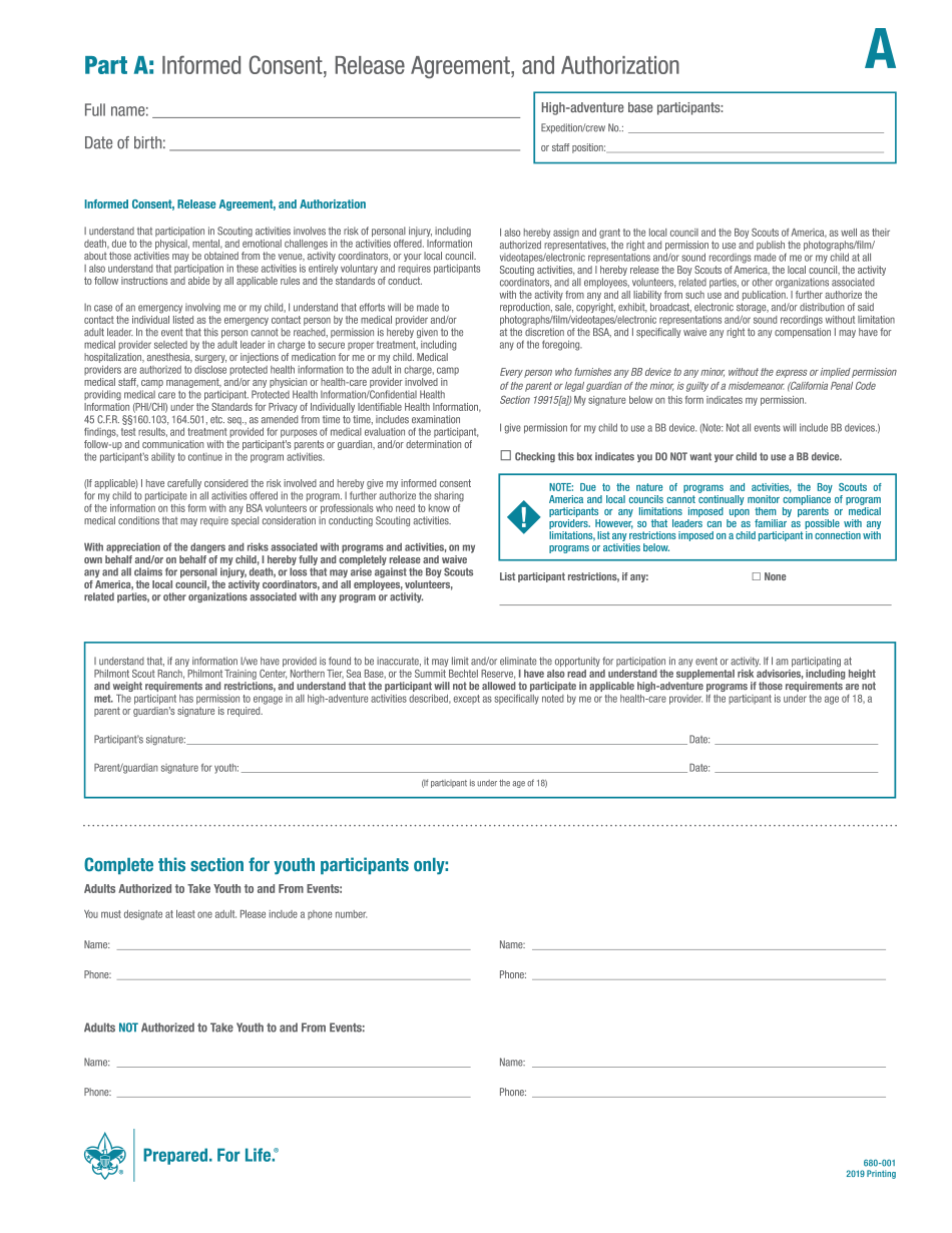 BSA 680-001 2019-2021 Form