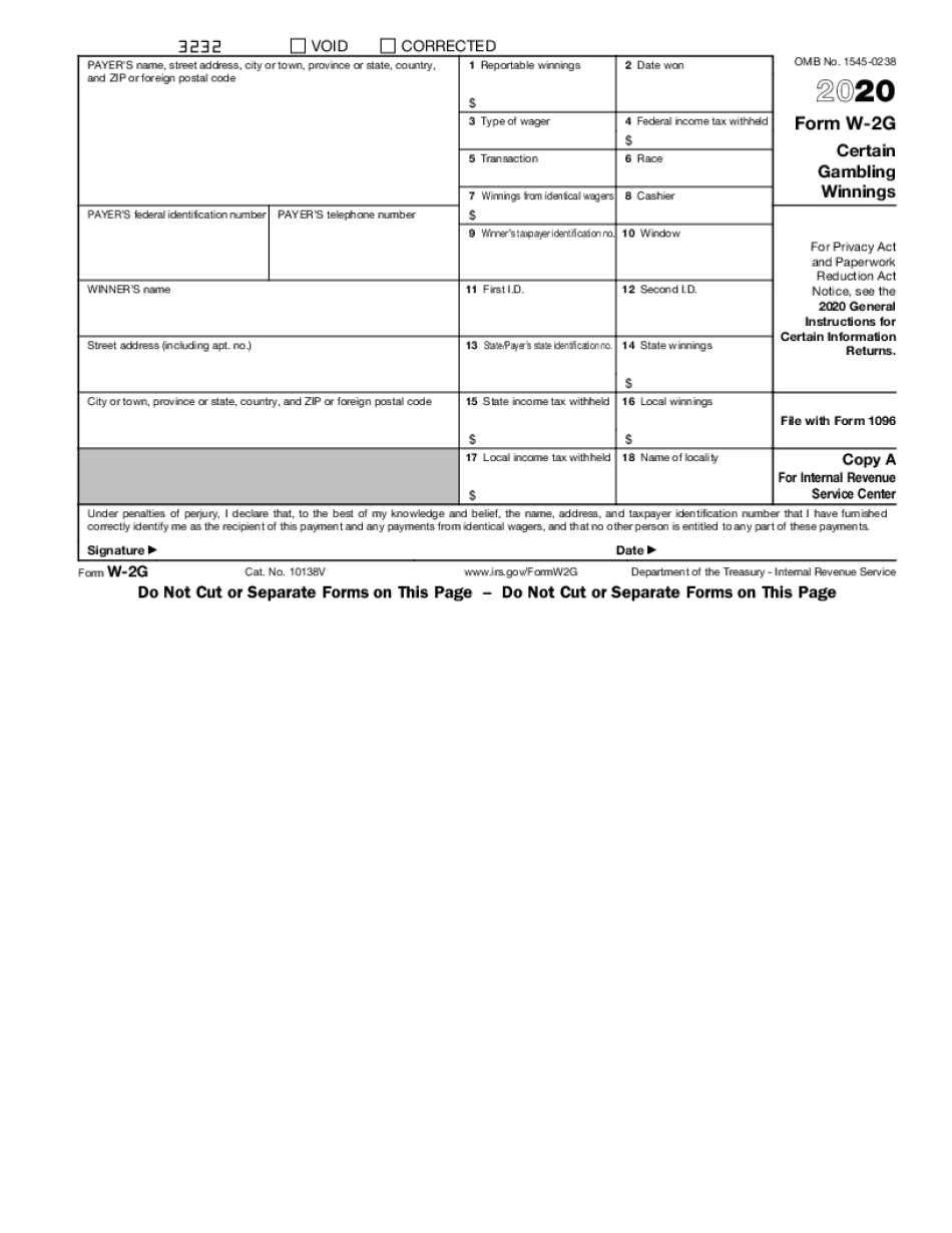 form w-2g instructions 2020