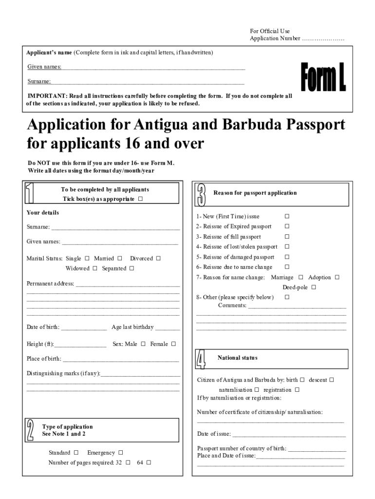 Antigua And Barbuda Passport Form - Fill Online, Printable, Fillable, Blank  | PDFfiller - pdfFiller