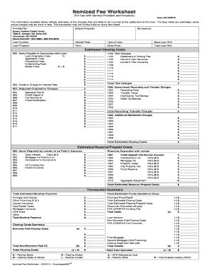 itemized fee worksheet excel