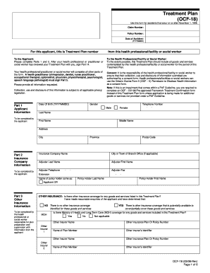 OCF-18: Treatment Plan - Effective as of March 1, 2006. fsco form number 1024E