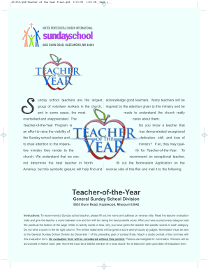 Fillable Online sundayschooldivision Teacher of the Month ...