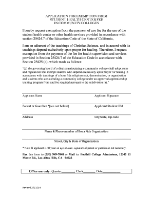 Health Fee Exemption Form - Foothill College - foothill fhda