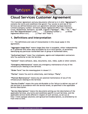SynApps Cloud Services - Standard Customer Agreement - GCloud 4 Report Template