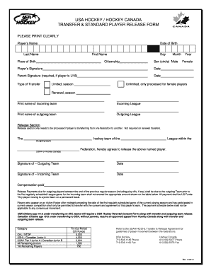 USAH/HC Standard Player Release Form - BC Hockey