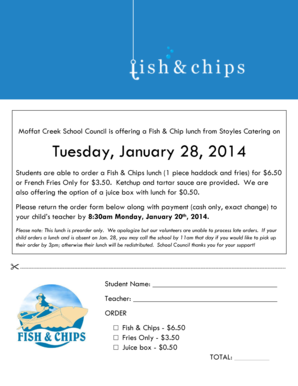 Fillable Online mof wrdsb Fish and chips lunch order form Jan 28