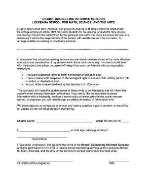 Counseling Consent Form - Louisiana School for Math, Science ...