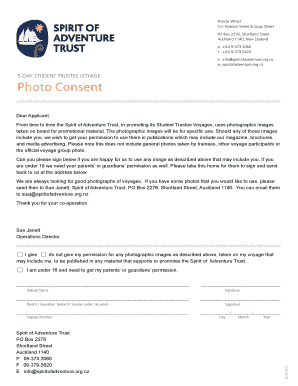 Photo Consent Form Student Trustee - Spirit of Adventure Trust