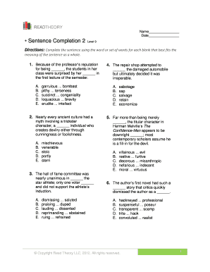 Fillable Online Englishforeveryone Sentence Completion 2