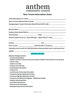 New Tenant Information Sheet - Anthem Fill Online, Printable ...