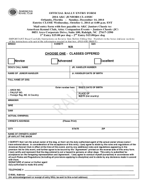 Fillable Online images akc OFFICIAL RALLY ENTRY FORM 2014 AKC ...