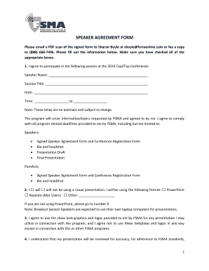 Fillable Online Speaker Agreement Form Fax Email Print