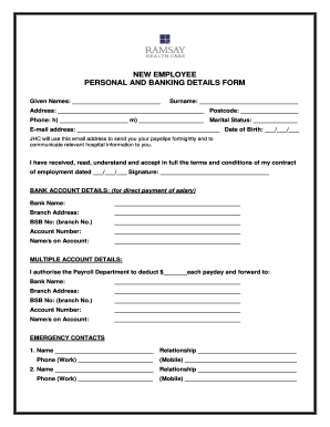 Employee Personal Details Form
