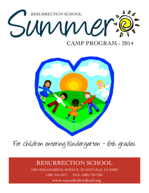Summer RESURRECTION SCHOOL CAMP PROGRAM - 2014 For children entering Kindergarten - 6th grades RESURRECTION SCHOOL 1395 HOLLENBECK AVENUE, SUNNYVALE, CA 94087 (408) 245-4571 FAX: (408) 733-7301 www - dsj