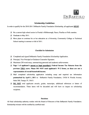 Scholarship Guidelines - DeBartolo Family Foundation