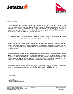 Medical Clearance Form   Jetstar