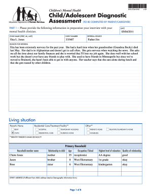 Fillable Online dhs mn Child/Adolescent Diagnostic ...