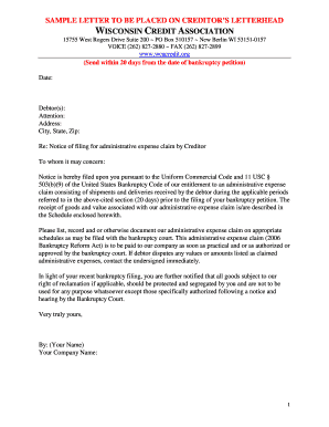 Administrative Claim Sample Letter - Wisconsin Credit Association - wcacredit