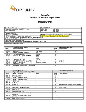 Fillable Online OptumRx NCPDP Version D.0 Payer Sheet Medicare ...