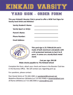 yard sign order form  Fillable Online kinkaid Yard sign order form - The Kinkaid ...